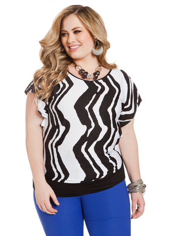 Banded Bottom Wave Blouse