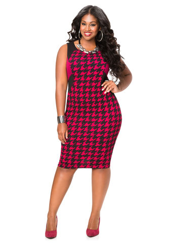 Houndstooth Colorblock Dress