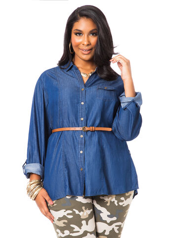 Belted Denim Tunic