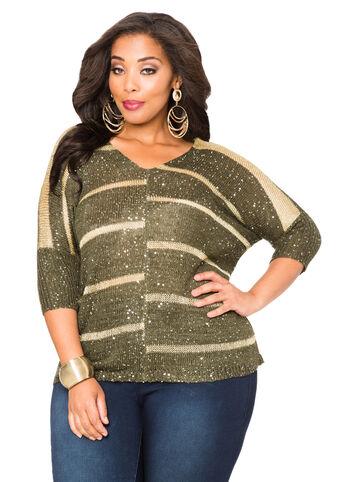 Sequin Metallic Double V Sweater