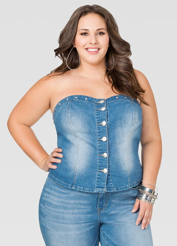 Button Front Jean Bustier