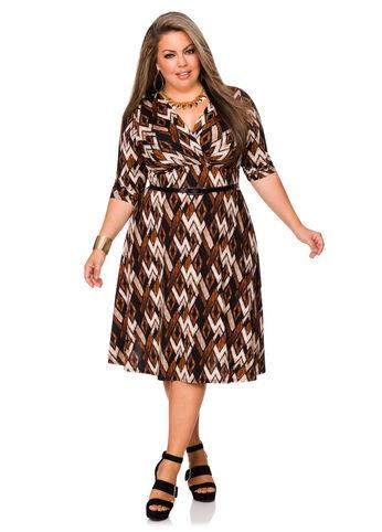 Belted Chevron Print Dress