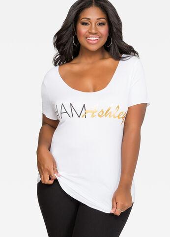 White #IAmAshley Hi-Lo Tee