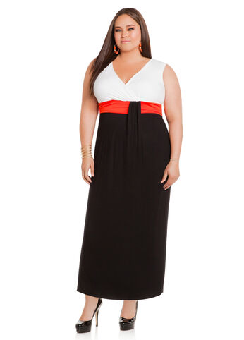 Tri-Color Surplus Top Maxi Dress