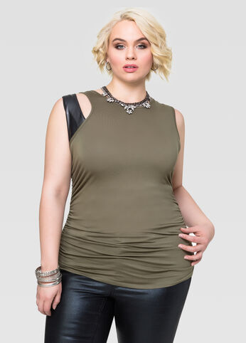 Leather Trim Ruched Tank