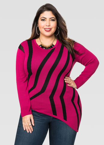 Asymmetrical Intarsia Pullover Sweater