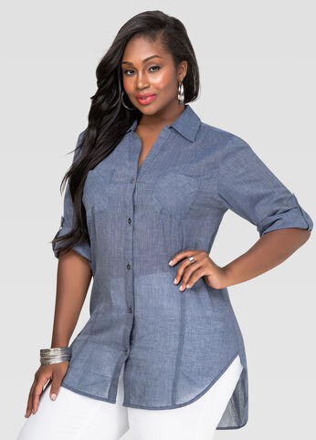 Chambray Hi-Lo Shirt