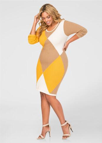 Diamond Colorblock Sweater Dress