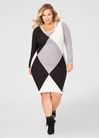 Diamond Colorblock Sweater Dress
