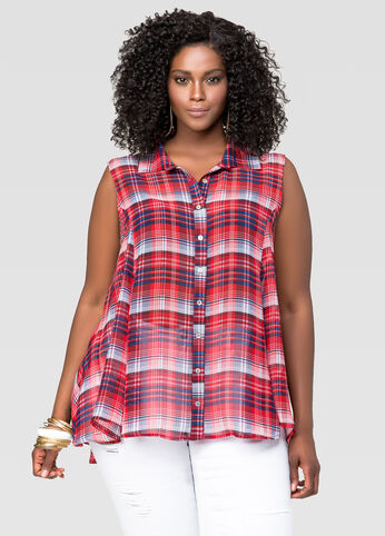 Plaid Swing Top