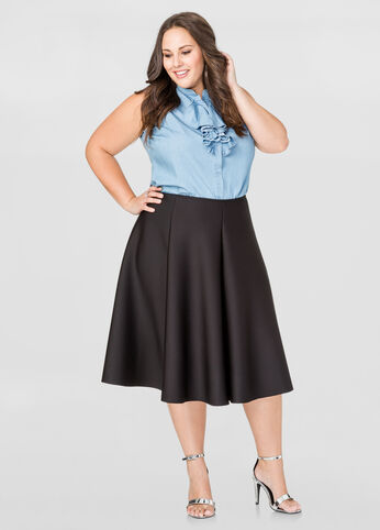 Shop this look plus size skirt plus size denim shirt