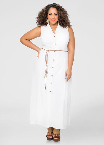 A-Line Button Front Maxi Dress