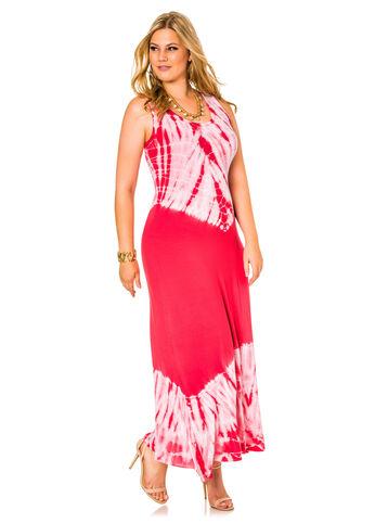 Flounce Hem Tie Dye Maxi Dress