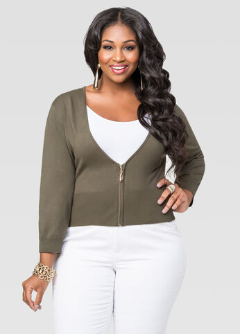 Solid Cropped Zip Front Cardigan