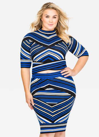 Striped Crop Top Sweater Surf The Web - Dresses