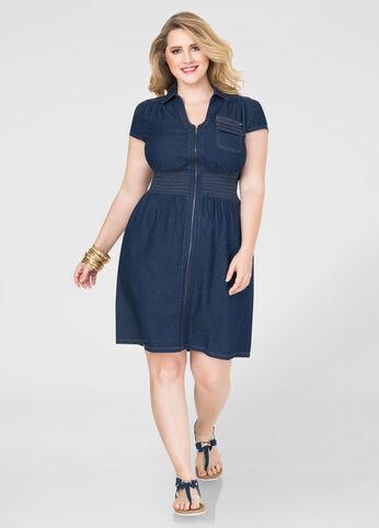 Smocked Zip Front Denim Dress