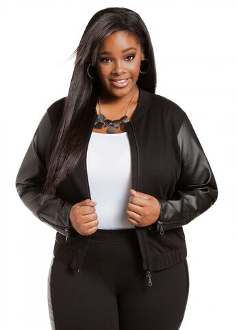 Faux Leather Sleeve Jacket
