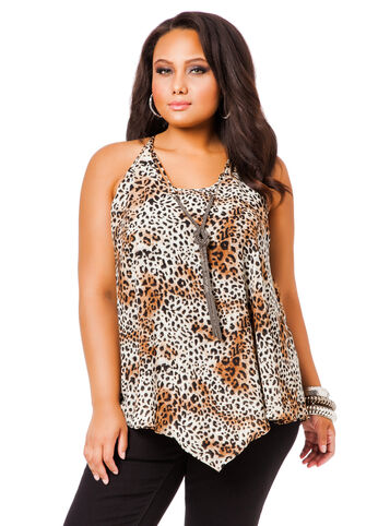 Sleeveless Animal Blouse with Silver Chain
