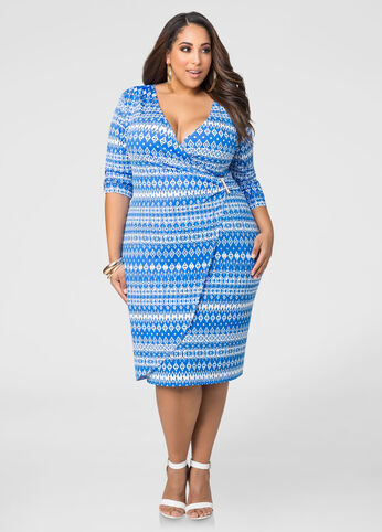 Tribal Faux Wrap Dress