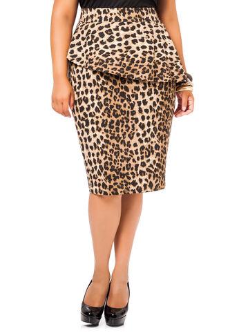 Jaguar Print Peplum Skirt