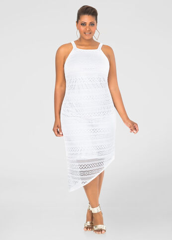 Lace Asymmetrical Sheath Dress
