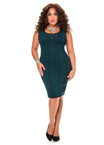Piped Speckled Sweater Dress