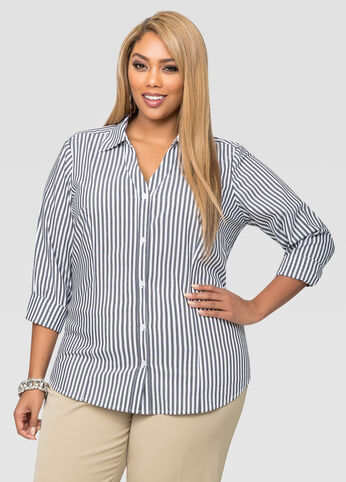 Striped Basic V-Neck Button Front Shirt