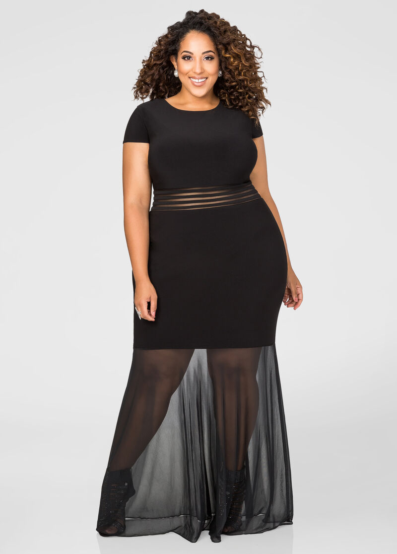 Plus size sheer panel special occasion dress 010 21462w for Ashley stewart wedding dresses