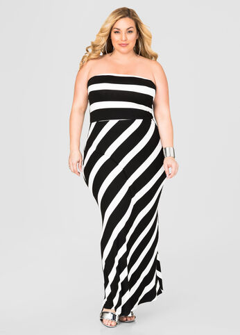 Wide Stripe Bandeau Maxi Dress