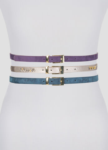 Studded Metallic Belt Trio