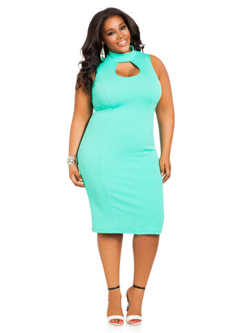 Textured Peekaboo Midi Dress