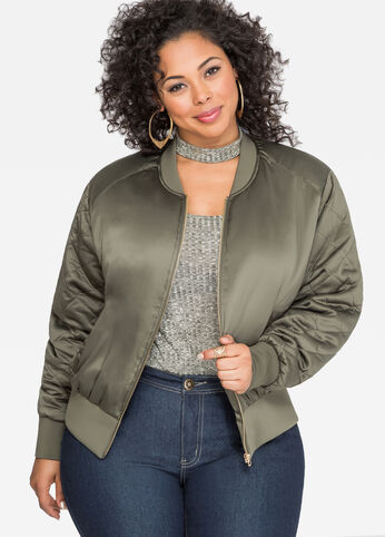 Quilted Sleeve Satin Bomber Jacket