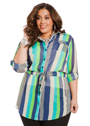 Multicolor Stripe Drawstring Tunic