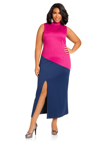 Color Block Ponte Maxi Dress