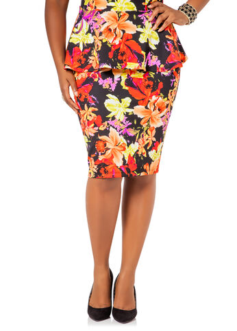 Printed Floral Pencil Skirt