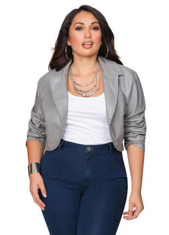 Quilted Faux Leather Shrug Jacket