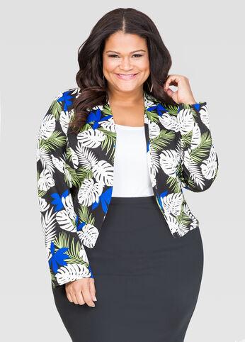 Palm Print Scuba Jacket