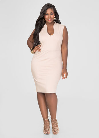 Plus Size U-Neck Bodycon Dress in Tan - Front