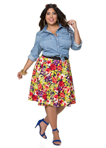 Tropical Print Circle Skirt