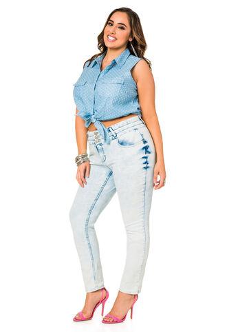 Three Button High Waist Skinny Jeans