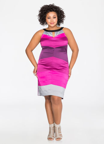 Satin Chevron Halter Sheath Dress