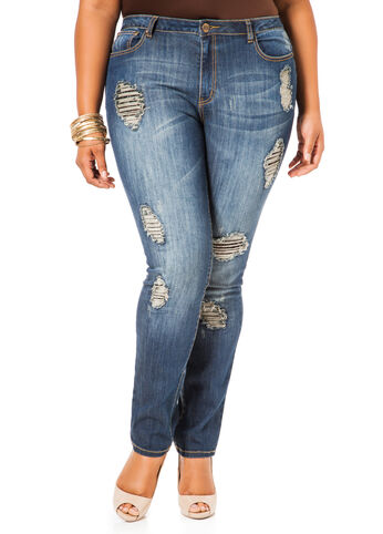 Black Lace Insert Destructed Skinny Jeans