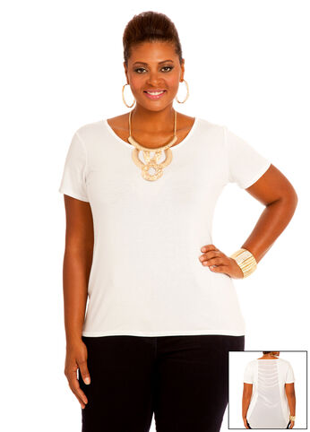 Shirred-Chiffon Back Short Sleeve Top
