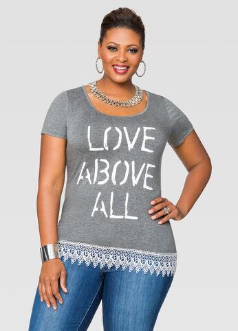 Love Above All Crochet Trim Tee