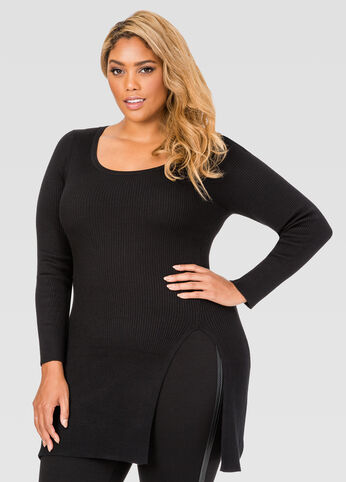 Slit Front Fitted Ribbed Sweater