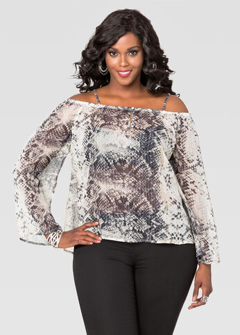 Sheer Skin Print Peasant Blouse
