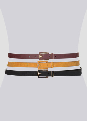 Faux Suede Belt Trio