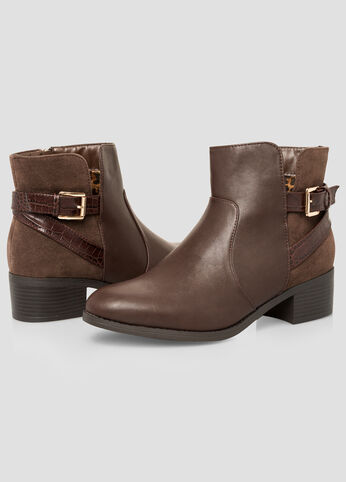 Contrast Ankle Boot - Wide Width
