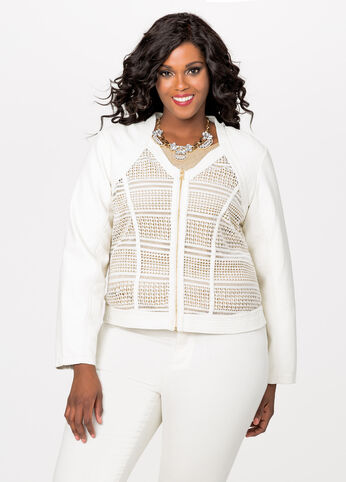 Zip Front Crochet Moto Jacket