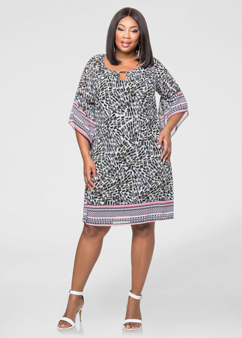 Plus Size Border Print Chiffon Dress